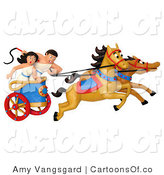 Illustration of a Roman Couple in a Chariot by Amy Vangsgard
