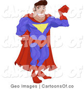 Illustration of a Super Hero Guy Flexing by AtStockIllustration
