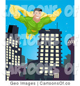 Illustration of a Super Hero Man Flying Through a City by AtStockIllustration