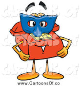 Illustration of a Telephone Character Wearing a Blue Mask by Toons4Biz