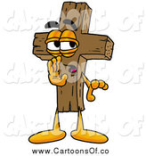 Illustration of a Wooden Christian Cross Character Whispering by Toons4Biz