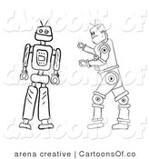 Illustration of Outlined Robots by Arena Creative