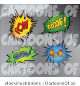 Illustration of Pow, Oooof, Zocko, and Boff Comic Sounds by Stockillustrations
