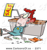 Vector Cartoon Illustration of a Beat up and Tired Employee Trampled During a Sale by Toonaday