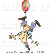 Vector Cartoon Illustration of a Business Man Being Carried Away by a Red Inflation Balloon by Toonaday