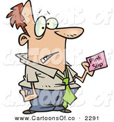 Vector Cartoon Illustration of a Business Man Holding a Pink Slip While Working by Toonaday
