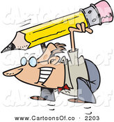 Vector Cartoon Illustration of a Business Man Squatting with a Giant Pencil by Toonaday