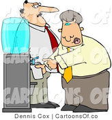 Vector Cartoon Illustration of a Caucasian Boss Keeping a Close Eye on an Employee Filling His Cup with Water by Djart
