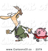 Vector Cartoon Illustration of a Caucasian Businessman Pulling a Piggy Bank in a Wagon by Toonaday