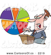 Vector Cartoon Illustration of a Caucasian Male Business Man Standing at a Podium, Discussing a Pie Chart by Toonaday
