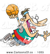 Vector Cartoon Illustration of a Caucasian Man About to Dunk a Basketball into the Basketball Hoop by Toonaday