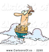 Vector Cartoon Illustration of a Caucasian Man Sitting Happy on Cloud 9 by Toonaday