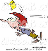 Vector Cartoon Illustration of a Caucasian Woman Chasing a Yellow Memo Slip After Being Hit on the Head by Toonaday