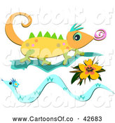 Vector Cartoon Illustration of a Chameleon Lizard with a Flower and Snake by