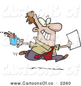 Vector Cartoon Illustration of a Cheerful and Grinning Brown Nosing Business Man Fetching Coffee and Papers for the Boss by Toonaday