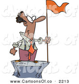 Vector Cartoon Illustration of a Cheerful and Successful African American Business Man Standing on a Mountain Top with a Red Flag by Toonaday