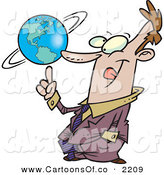 Vector Cartoon Illustration of a Cheerful and Successful Business Man Spinning the World Globe on His Finger by Toonaday