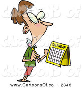 Vector Cartoon Illustration of a Cheerful Brunette Woman Marking a Day on Her Calendar by Toonaday