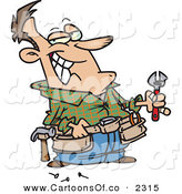 Vector Cartoon Illustration of a Cheerful White Handy Man Holding Tools and Smiling by Toonaday