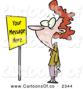 Vector Cartoon Illustration of a Confused Caucasian Woman Staring at a Yellow Sign by Toonaday