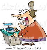 Vector Cartoon Illustration of a Crazed and Stressed out Clerk Woman at a Cash Register in a Store by Toonaday