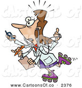 Vector Cartoon Illustration of a Crazed Female Doctor with 4 Arms Multi Tasking by Toonaday
