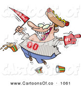 Vector Cartoon Illustration of a Crazy Caucasian Male Baseball Fan with a Hot Dog Hat, Flag, Hand and Drinks by Toonaday