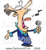 Vector Cartoon Illustration of a Crazy White Man in a Blue Suit, Singing the Anthem by Toonaday