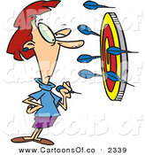 Vector Cartoon Illustration of a Determined Woman Throwing Darts at a Target, Trying to Get a Bullseye by Toonaday