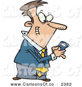 Vector Cartoon Illustration of a Flirty Man Using a BlackBerry Wireless Handheld Device to Send Text Messages by Toonaday
