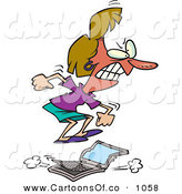 Vector Cartoon Illustration of a Flustered Woman Jumping on a Laptop Computer After It Running Slowly by Toonaday