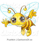 Vector Cartoon Illustration of a Flying Bee with a Cute Face by Pushkin