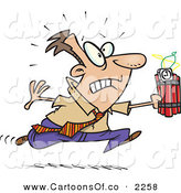 Vector Cartoon Illustration of a Frowning and Nervous Caucasian Man Running with Dynamite, Trying to Save the Day by Toonaday