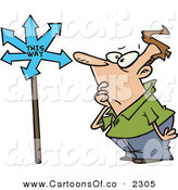 Vector Cartoon Illustration of a Frowning Confused White Guy Looking at a Sign That Points in Many Directions by Toonaday