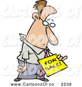 Vector Cartoon Illustration of a Frowning White Depressed Business Man Wearing a for Sale Sign Around His Neck by Toonaday
