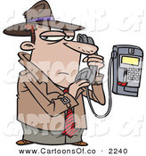 Vector Cartoon Illustration of a Frowning White Undercover Private Eye Detective Talking Secretively on a Telephone on White by Toonaday