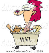 Vector Cartoon Illustration of a Goofy Red Headed Woman in a Mail Cart, Stamped with Postage by Toonaday
