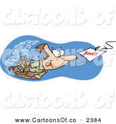 Vector Cartoon Illustration of a Greedy Businessman Swimming After a Hooked Bonus Underwater by Toonaday