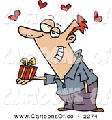 Vector Cartoon Illustration of a Grinning Romantic Caucasian Man Holding a Valentine's Day Gift, Hearts Above His Head by Toonaday