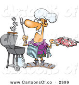Vector Cartoon Illustration of a Grinning White Man Preparing to Barbeque Ribs on a Gas Grill on White by Toonaday