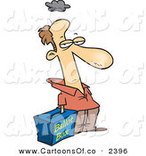 Vector Cartoon Illustration of a Grumpy White Voter with His Hand in a Ballot Box - Stuffing the Ballot Box in Favor of One Party by Toonaday