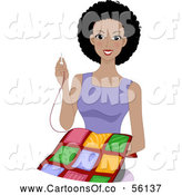 Vector Cartoon Illustration of a Happy Black Lady Smiling and Sewing a Quilt by BNP Design Studio