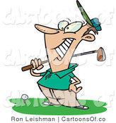 Vector Cartoon Illustration of a Happy Caucasian Male Golfer near a Ball, Holding His Golf Club by Toonaday