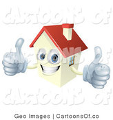 Vector Cartoon Illustration of a Happy House Holding Two Thumbs up by AtStockIllustration