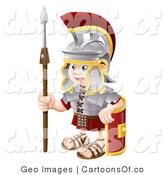 Vector Cartoon Illustration of a Happy Roman Soldier Kid with a Shield and Spear by AtStockIllustration