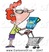 Vector Cartoon Illustration of a Happy Woman in a Grocery Store Readint the Nutrition Label on a Box of Food by Toonaday