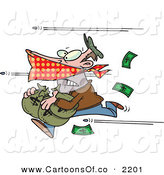 Vector Cartoon Illustration of a Humorous Bank Robber Running with Money, Bullets Being Shot at Him by Toonaday