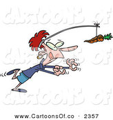 Vector Cartoon Illustration of a Hungry and Dieting White Woman Chasing a Chocolate Covered Carrot on a Stick by Toonaday