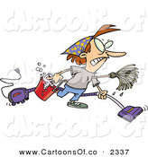 Vector Cartoon Illustration of a Mad Woman Wearing Herself out While Doing Spring Cleaning by Toonaday