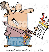 Vector Cartoon Illustration of a Man Burning His Mortgage Papers While Looking Right by Toonaday